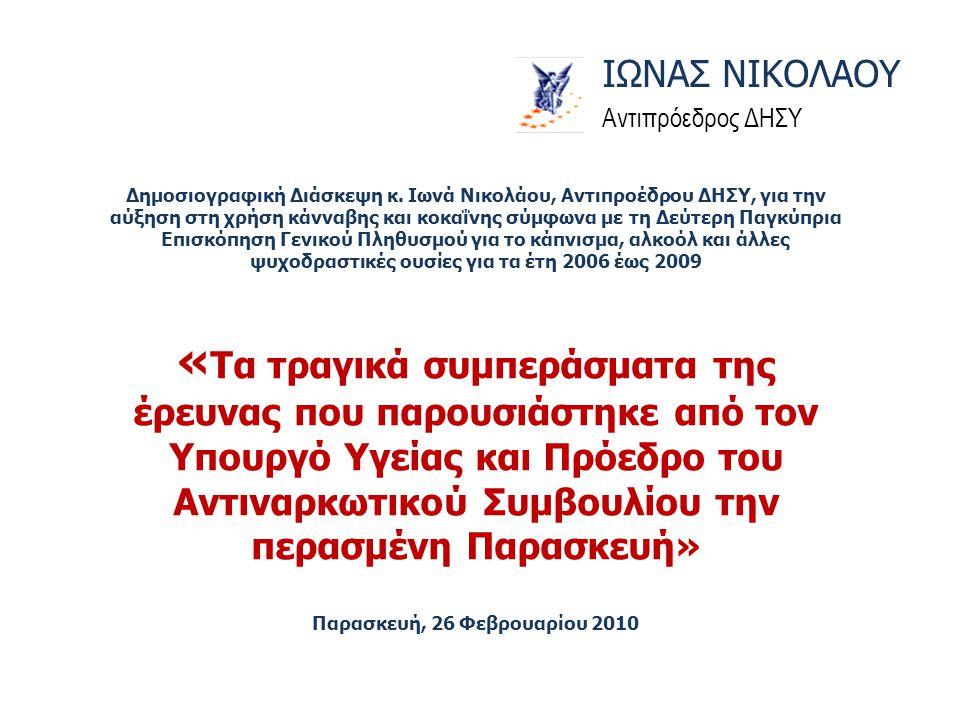 Δημοσιογραφική Διάσκεψη κ. Ιωνά Νικολάου, Αντιπροέδρου ΔΗΣΥ, για την αύξηση στη χρήση κάνναβης και κοκαΐνης σύμφωνα με τη Δεύτερη Παγκύπρια Επισκόπηση