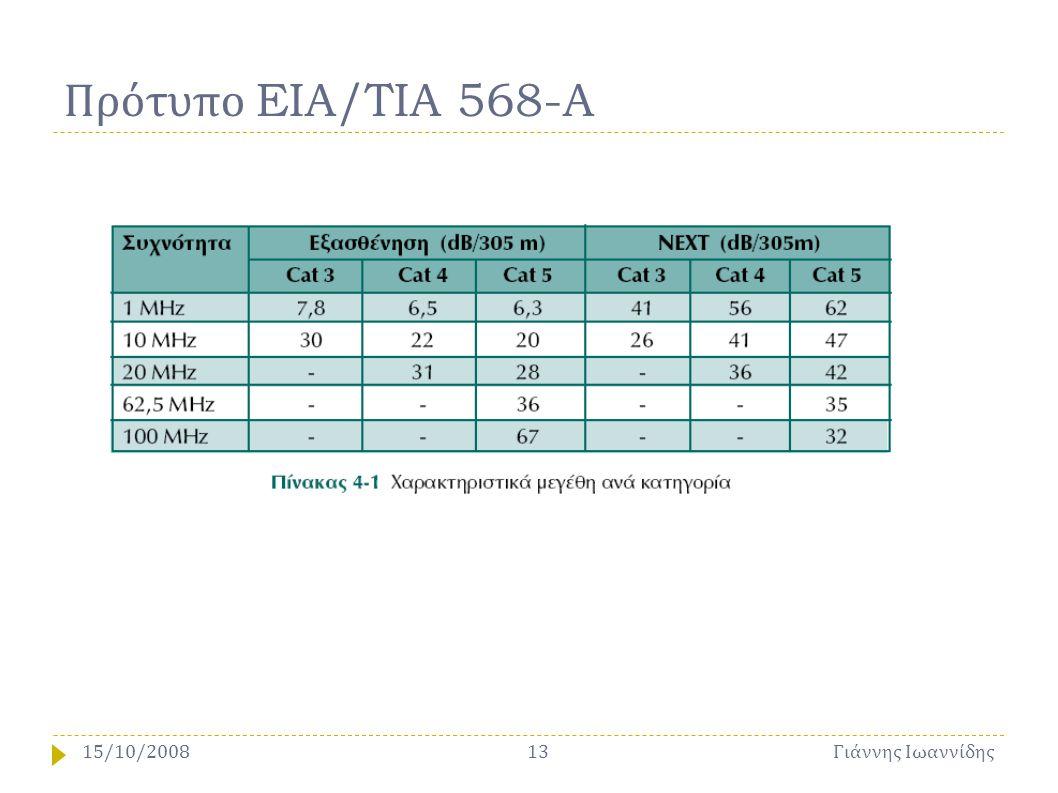 Πρότυπο EIA/TIA 568-A Γιάννης Ιωαννίδης 1315/10/2008