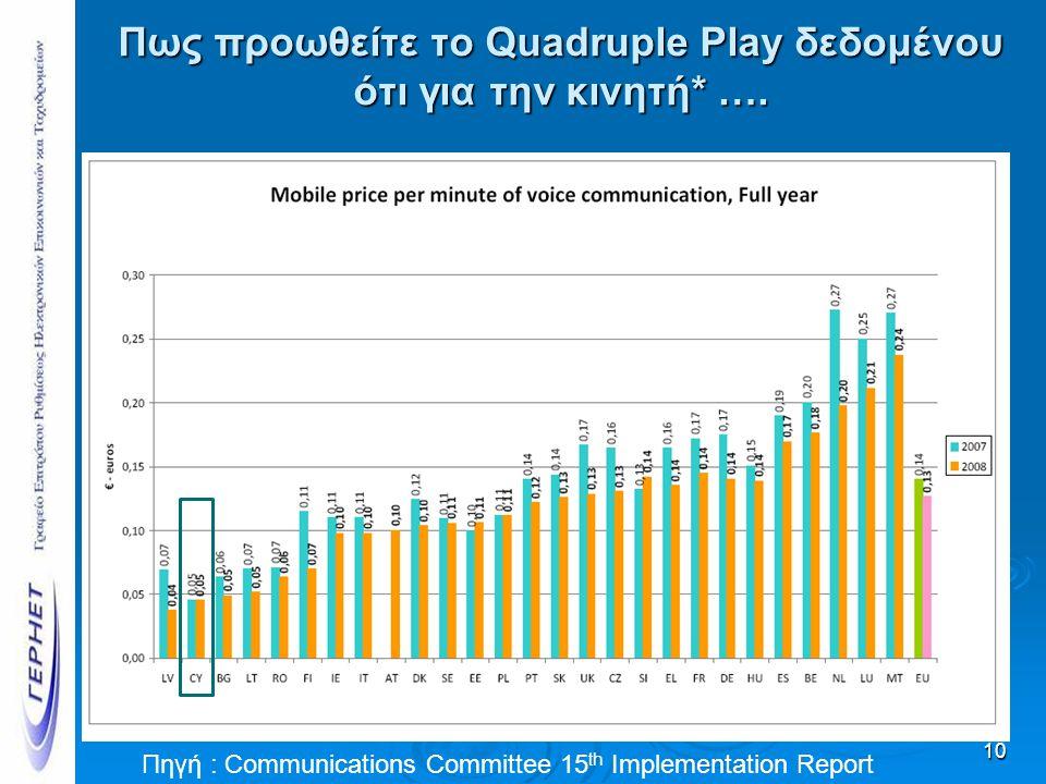 Πως προωθείτε το Quadruple Play δεδομένου ότι για την κινητή* …. 10 Πηγή : Communications Committee 15 th Implementation Report