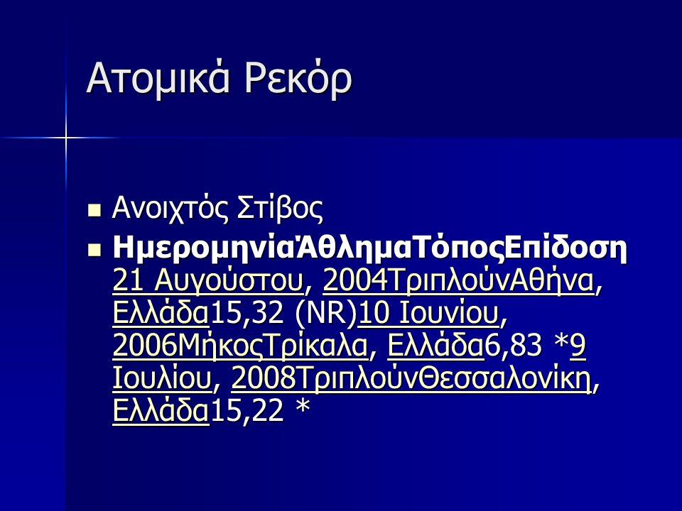 Ατομικά Ρεκόρ Ανοιχτός Στίβος Ανοιχτός Στίβος ΗμερομηνίαΆθλημαΤόποςΕπίδοση 21 Αυγούστου, 2004ΤριπλούνΑθήνα, Ελλάδα15,32 (NR)10 Ιουνίου, 2006ΜήκοςΤρίκαλα, Ελλάδα6,83 *9 Ιουλίου, 2008ΤριπλούνΘεσσαλονίκη, Ελλάδα15,22 * ΗμερομηνίαΆθλημαΤόποςΕπίδοση 21 Αυγούστου, 2004ΤριπλούνΑθήνα, Ελλάδα15,32 (NR)10 Ιουνίου, 2006ΜήκοςΤρίκαλα, Ελλάδα6,83 *9 Ιουλίου, 2008ΤριπλούνΘεσσαλονίκη, Ελλάδα15,22 * 21 Αυγούστου2004ΤριπλούνΑθήνα Ελλάδα10 Ιουνίου 2006ΜήκοςΤρίκαλαΕλλάδα9 Ιουλίου2008ΤριπλούνΘεσσαλονίκη Ελλάδα 21 Αυγούστου2004ΤριπλούνΑθήνα Ελλάδα10 Ιουνίου 2006ΜήκοςΤρίκαλαΕλλάδα9 Ιουλίου2008ΤριπλούνΘεσσαλονίκη Ελλάδα
