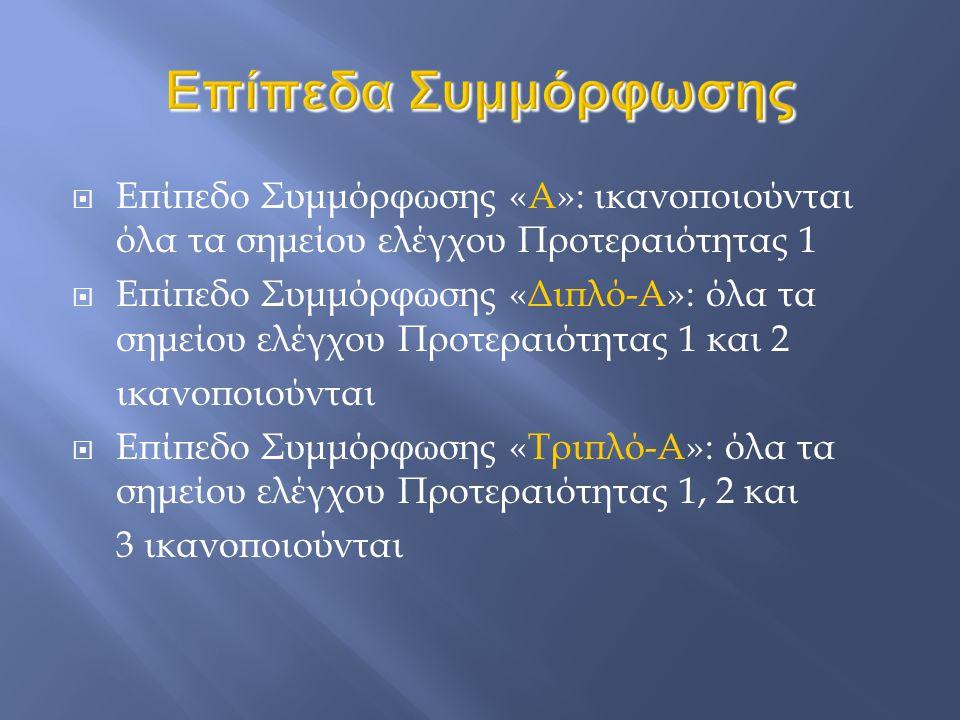  Επίπεδο Συμμόρφωσης «A»: ικανοποιούνται όλα τα σημείου ελέγχου Προτεραιότητας 1  Επίπεδο Συμμόρφωσης «Διπλό-A»: όλα τα σημείου ελέγχου Προτεραιότητας 1 και 2 ικανοποιούνται  Επίπεδο Συμμόρφωσης «Τριπλό-A»: όλα τα σημείου ελέγχου Προτεραιότητας 1, 2 και 3 ικανοποιούνται