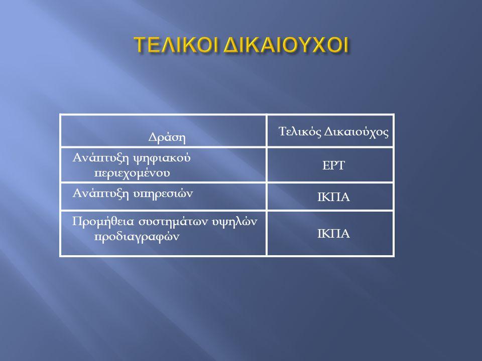 Δράση Τελικός Δικαιούχος Ανάπτυξη ψηφιακού περιεχομένου ΕΡΤ Ανάπτυξη υπηρεσιών ΙΚΠΑ Προμήθεια συστημάτων υψηλών προδιαγραφών ΙΚΠΑ