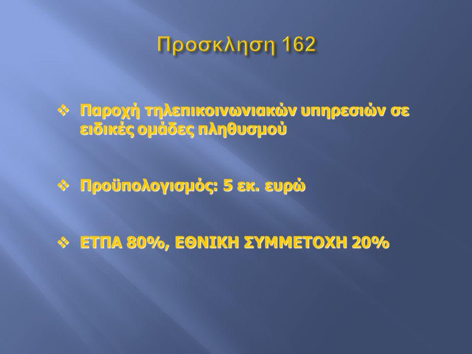  Παροχή τηλεπικοινωνιακών υπηρεσιών σε ειδικές ομάδες πληθυσμού  Προϋπολογισμός: 5 εκ. ευρώ  ΕΤΠΑ 80%, ΕΘΝΙΚΗ ΣΥΜΜΕΤΟΧΗ 20%