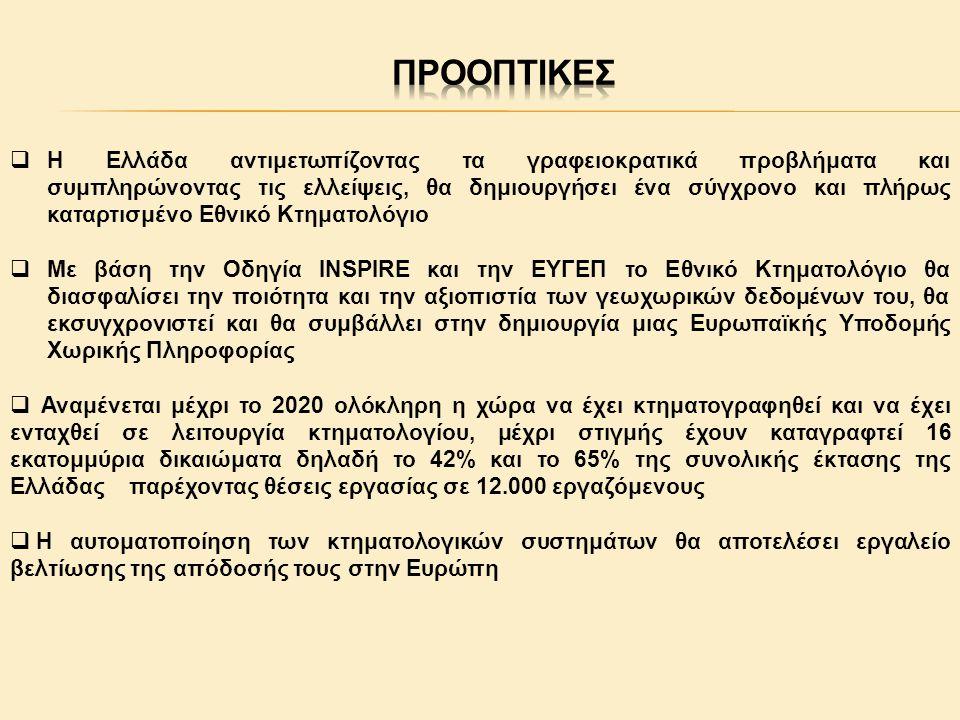  Η Ελλάδα αντιμετωπίζοντας τα γραφειοκρατικά προβλήματα και συμπληρώνοντας τις ελλείψεις, θα δημιουργήσει ένα σύγχρονο και πλήρως καταρτισμένο Εθνικό Κτηματολόγιο  Με βάση την Οδηγία INSPIRE και την ΕΥΓΕΠ το Εθνικό Κτηματολόγιο θα διασφαλίσει την ποιότητα και την αξιοπιστία των γεωχωρικών δεδομένων του, θα εκσυγχρονιστεί και θα συμβάλλει στην δημιουργία μιας Ευρωπαϊκής Υποδομής Χωρικής Πληροφορίας  Αναμένεται μέχρι το 2020 ολόκληρη η χώρα να έχει κτηματογραφηθεί και να έχει ενταχθεί σε λειτουργία κτηματολογίου, μέχρι στιγμής έχουν καταγραφτεί 16 εκατομμύρια δικαιώματα δηλαδή το 42% και το 65% της συνολικής έκτασης της Ελλάδας παρέχοντας θέσεις εργασίας σε 12.000 εργαζόμενους  Η αυτοματοποίηση των κτηματολογικών συστημάτων θα αποτελέσει εργαλείο βελτίωσης της απόδοσής τους στην Ευρώπη