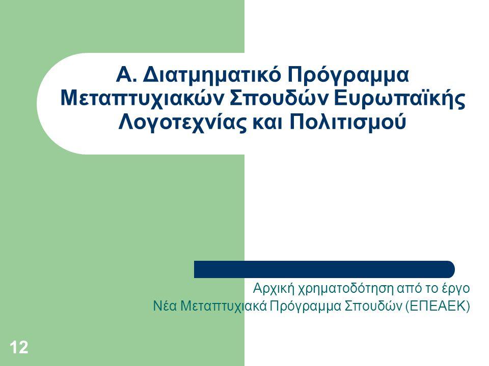 12 Α. Διατμηματικό Πρόγραμμα Μεταπτυχιακών Σπουδών Ευρωπαϊκής Λογοτεχνίας και Πολιτισμού Αρχική χρηματοδότηση από το έργο Νέα Μεταπτυχιακά Πρόγραμμα Σ