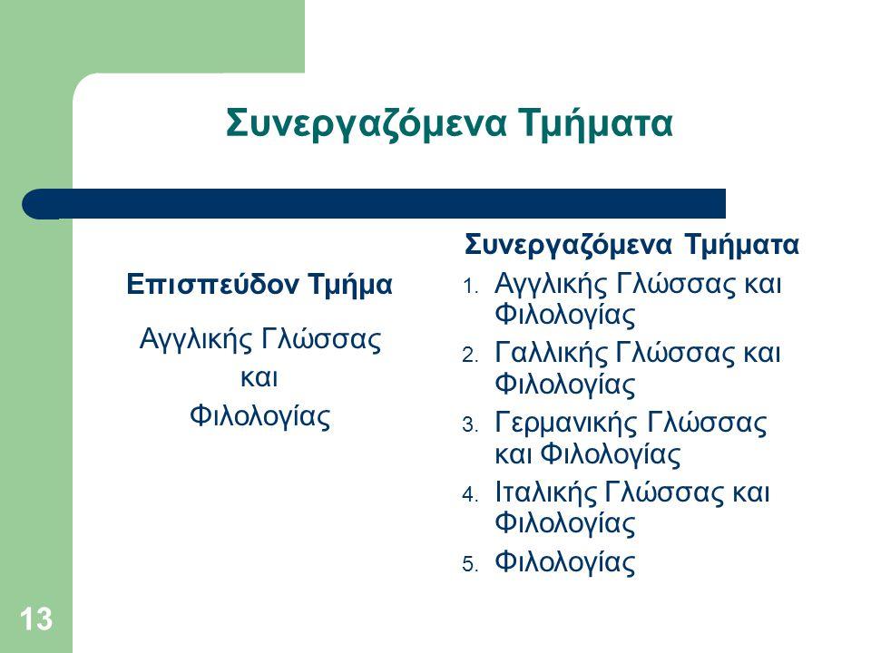 13 Συνεργαζόμενα Τμήματα Επισπεύδον Τμήμα Αγγλικής Γλώσσας και Φιλολογίας Συνεργαζόμενα Τμήματα 1. Αγγλικής Γλώσσας και Φιλολογίας 2. Γαλλικής Γλώσσας
