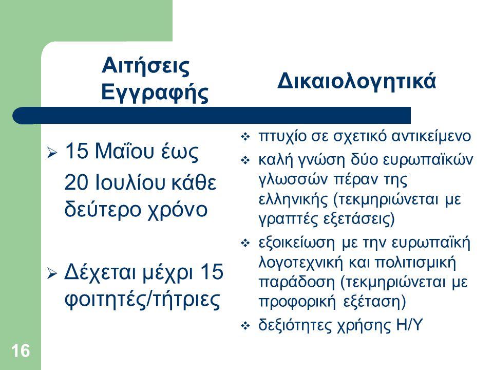 16 Αιτήσεις Εγγραφής  15 Μαΐου έως 20 Ιουλίου κάθε δεύτερο χρόνο  Δέχεται μέχρι 15 φοιτητές/τήτριες Δικαιολογητικά  πτυχίο σε σχετικό αντικείμενο  καλή γνώση δύο ευρωπαϊκών γλωσσών πέραν της ελληνικής (τεκμηριώνεται με γραπτές εξετάσεις)  εξοικείωση με την ευρωπαϊκή λογοτεχνική και πολιτισμική παράδοση (τεκμηριώνεται με προφορική εξέταση)  δεξιότητες χρήσης Η/Υ