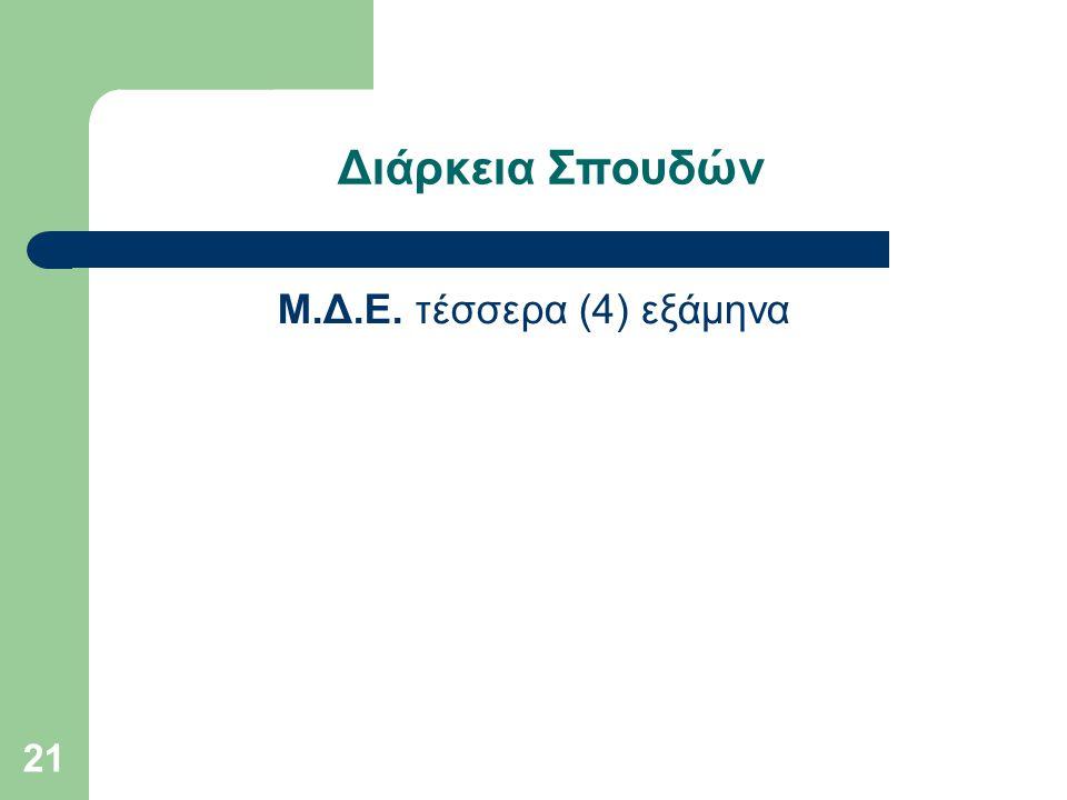 21 Διάρκεια Σπουδών Μ.Δ.Ε. τέσσερα (4) εξάμηνα