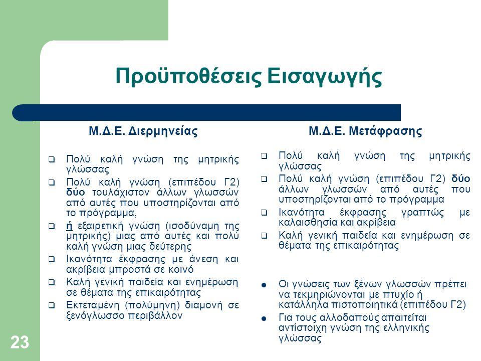 23 Προϋποθέσεις Εισαγωγής Μ.Δ.Ε. Διερμηνείας  Πολύ καλή γνώση της μητρικής γλώσσας  Πολύ καλή γνώση (επιπέδου Γ2) δύο τουλάχιστον άλλων γλωσσών από