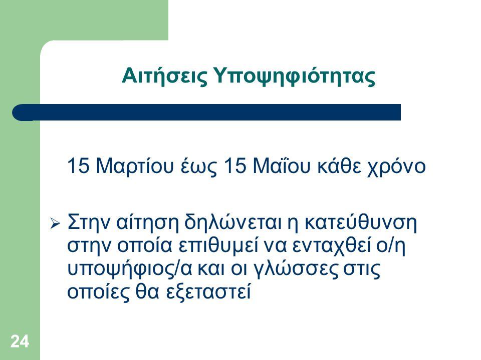 24 Αιτήσεις Υποψηφιότητας 15 Μαρτίου έως 15 Μαΐου κάθε χρόνο  Στην αίτηση δηλώνεται η κατεύθυνση στην οποία επιθυμεί να ενταχθεί ο/η υποψήφιος/α και οι γλώσσες στις οποίες θα εξεταστεί