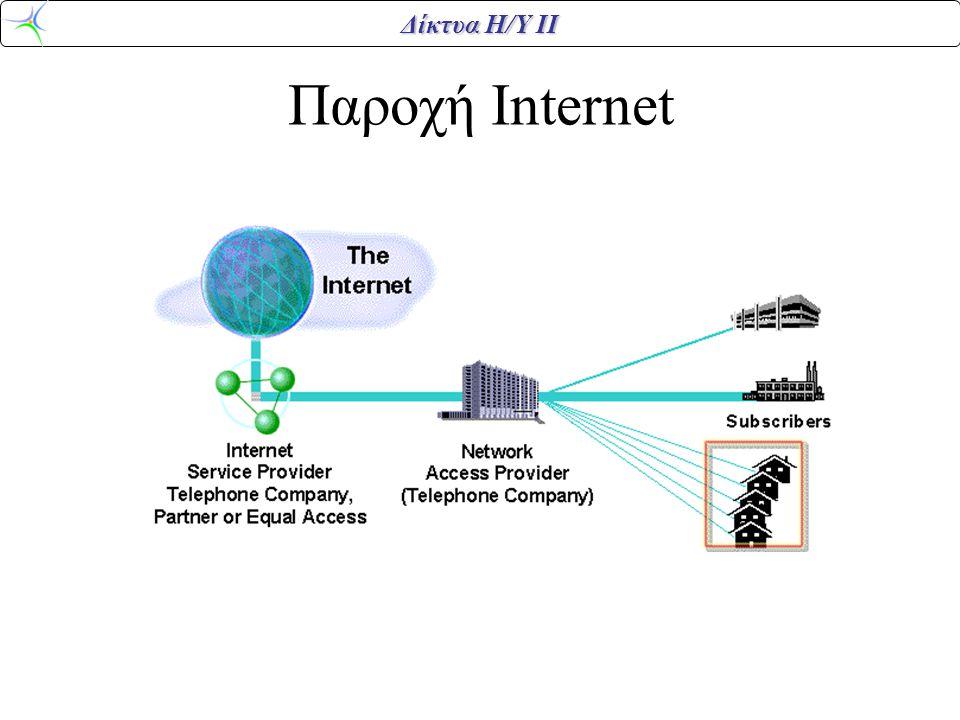 Δίκτυα Η/Υ ΙΙ VDSL VDSL -- Very high data rate Digital Subscriber Line Downstream –12.96 Mbps (1/4 STS-1) 4,500 feet of wire – 25.82 Mbps (1/2 STS-1) 3,000 feet of wire –51.84 Mbps (STS-1) 1,000 feet of wire –Upstream 1.6-2.3 Mbps