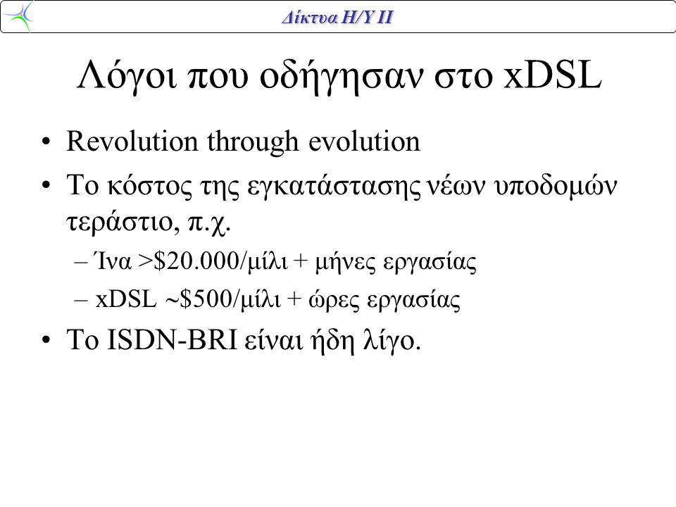 Δίκτυα Η/Υ ΙΙ Διεπαφές δικτύου DSL