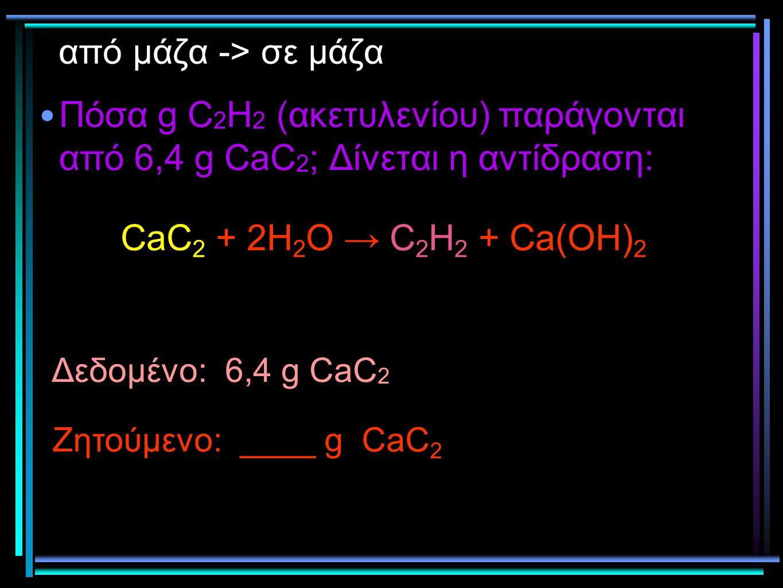 από μάζα -> σε μάζα Πόσα g C 2 H 2 (ακετυλενίου) παράγονται από 6,4 g CaC 2 ; Δίνεται η αντίδραση: Δεδομένο: 6,4 g CaC 2 Ζητούμενο: ____ g CaC 2 CaC 2