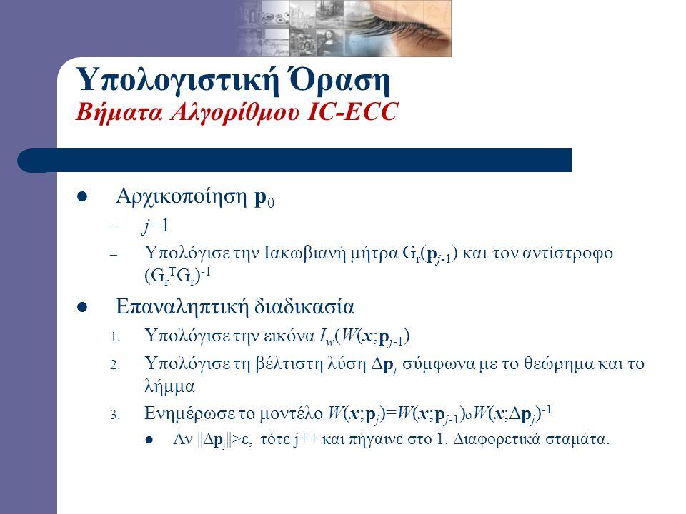 Υπολογιστική Όραση Βήματα Αλγορίθμου IC-ECC Αρχικοποίηση p 0 – j=1 – Υπολόγισε την Ιακωβιανή μήτρα G r (p j-1 ) και τον αντίστροφο (G r T G r ) -1 Επα