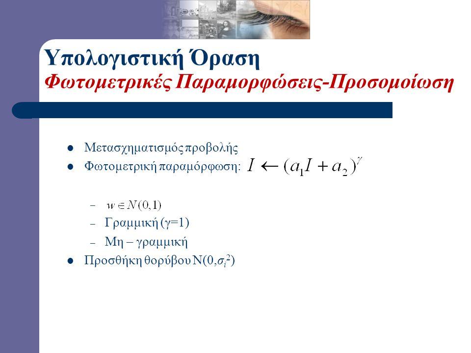 Υπολογιστική Όραση Φωτομετρικές Παραμορφώσεις-Προσομοίωση Μετασχηματισμός προβολής Φωτομετρική παραμόρφωση: – – Γραμμική (γ=1) – Μη – γραμμική Προσθήκ