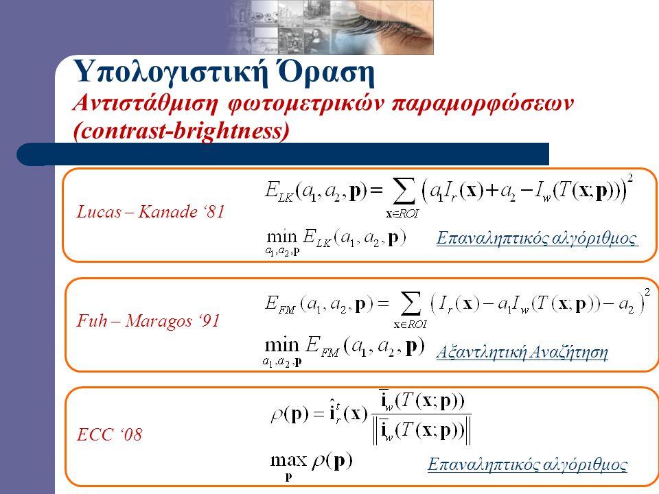 Υπολογιστική Όραση Αντιστάθμιση φωτομετρικών παραμορφώσεων (contrast-brightness) Lucas – Kanade '81 Fuh – Maragos '91 ECC '08 Επαναληπτικός αλγόριθμος