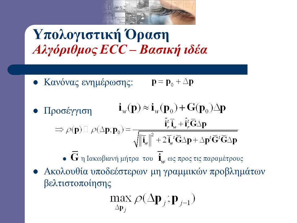 Υπολογιστική Όραση Αλγόριθμος ECC – Βασική ιδέα Κανόνας ενημέρωσης: Προσέγγιση η Ιακωβιανή μήτρα του ως προς τις παραμέτρους Ακολουθία υποδεέστερων μη