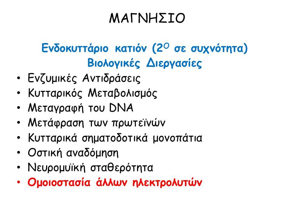 ΜΑΓΝΗΣΙΟ Ενδοκυττάριο κατιόν (2 Ο σε συχνότητα) Βιολογικές Διεργασίες Ενζυμικές Αντιδράσεις Κυτταρικός Μεταβολισμός Μεταγραφή του DNA Μετάφραση των πρωτεϊνών Κυτταρικά σηματοδοτικά μονοπάτια Οστική αναδόμηση Νευρομυϊκή σταθερότητα Ομοιοστασία άλλων ηλεκτρολυτών