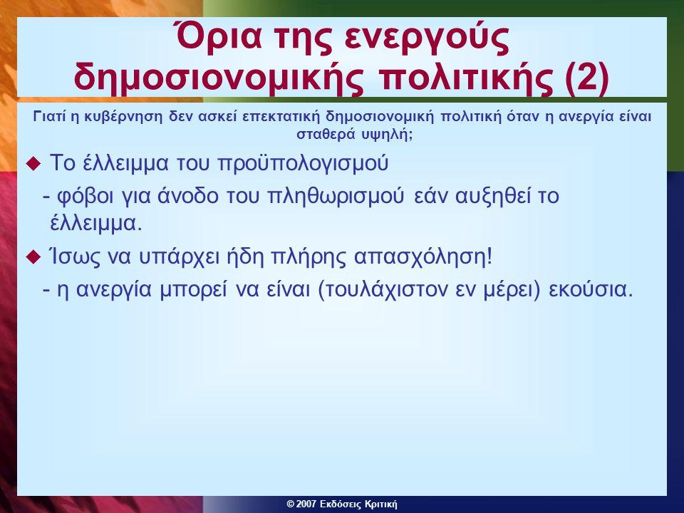 © 2007 Εκδόσεις Κριτική Όρια της ενεργούς δημοσιονομικής πολιτικής (2) Γιατί η κυβέρνηση δεν ασκεί επεκτατική δημοσιονομική πολιτική όταν η ανεργία εί