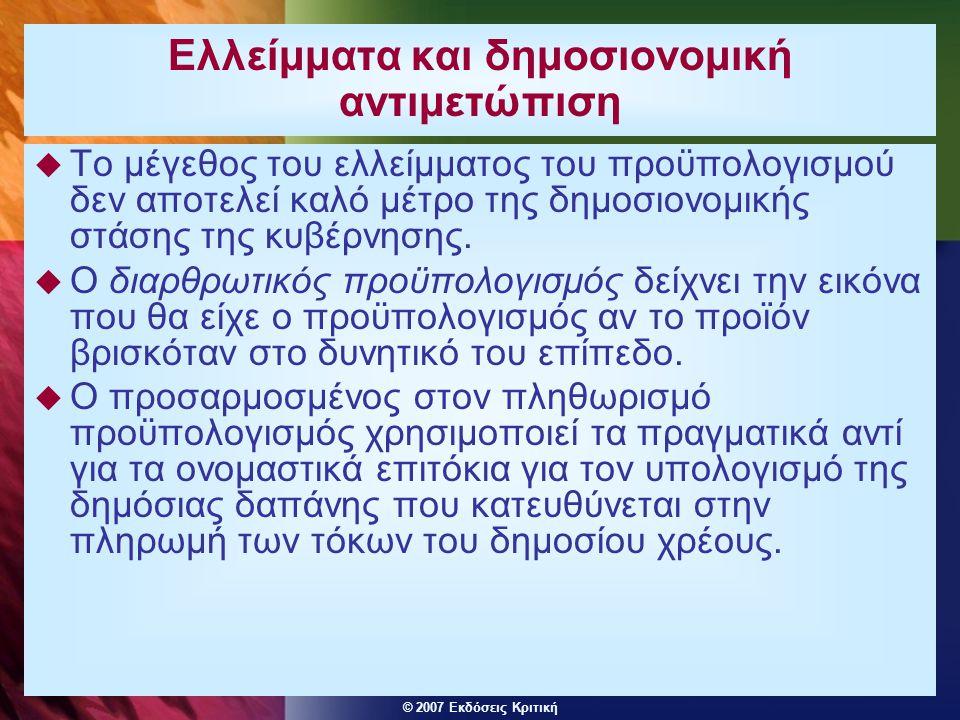 © 2007 Εκδόσεις Κριτική Ελλείμματα και δημοσιονομική αντιμετώπιση  Το μέγεθος του ελλείμματος του προϋπολογισμού δεν αποτελεί καλό μέτρο της δημοσιον