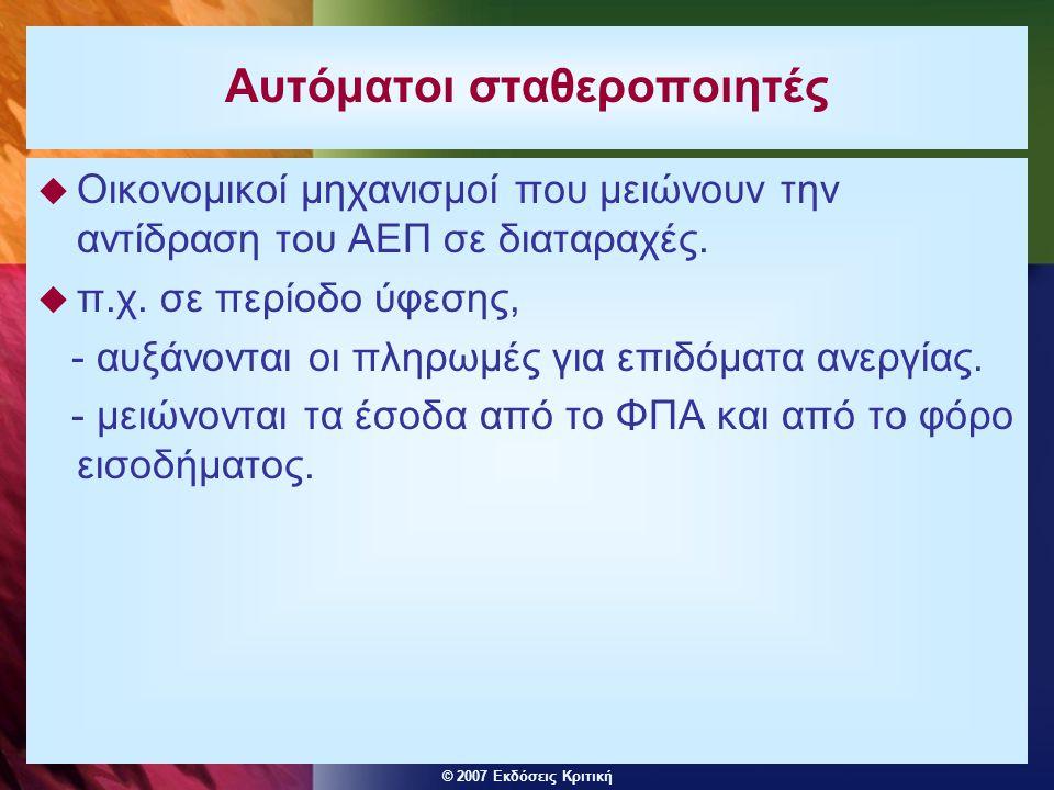 © 2007 Εκδόσεις Κριτική Αυτόματοι σταθεροποιητές  Οικονομικοί μηχανισμοί που μειώνουν την αντίδραση του ΑΕΠ σε διαταραχές.  π.χ. σε περίοδο ύφεσης,