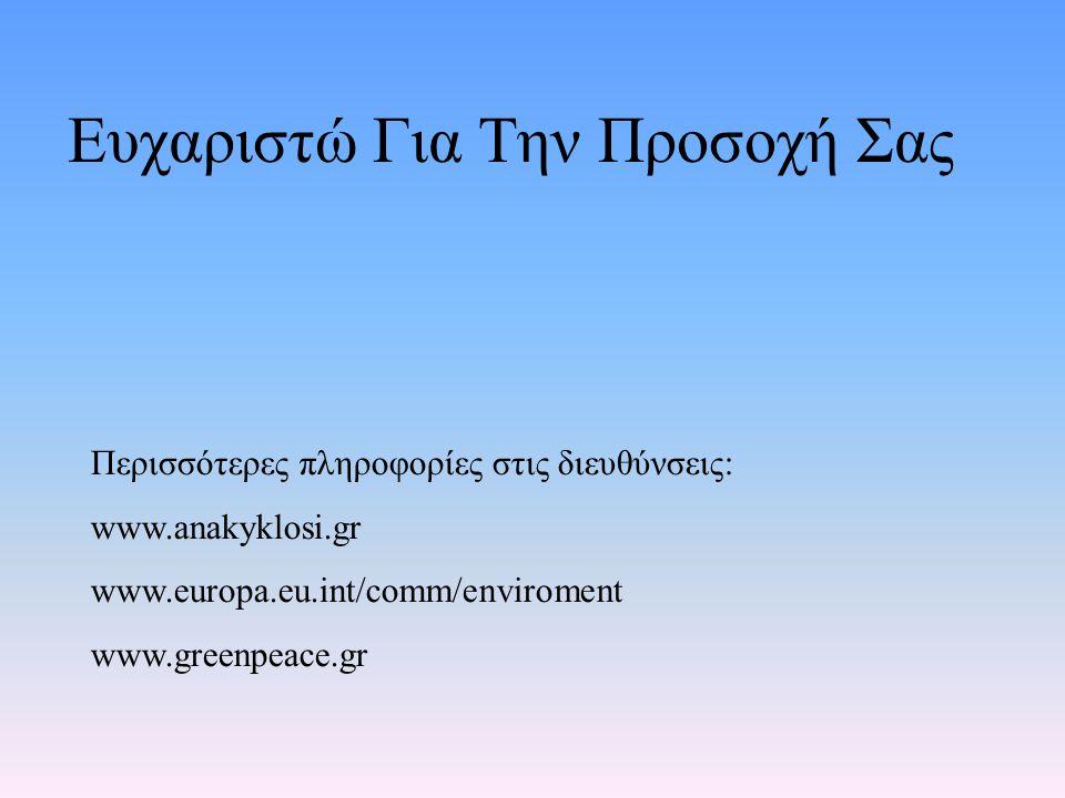 Ευχαριστώ Για Την Προσοχή Σας Περισσότερες πληροφορίες στις διευθύνσεις: www.anakyklosi.gr www.europa.eu.int/comm/enviroment www.greenpeace.gr