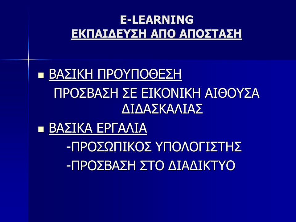 E-LEARNING ΕΚΠΑΙΔΕΥΣΗ ΑΠΟ ΑΠΟΣΤΑΣΗ ΣΥΝΩΝΥΜΟΙ ΟΡΟΙ ONLINE LEARNING ONLINE LEARNING COMPUTER-BASED LEARNING(CBT) COMPUTER-BASED LEARNING(CBT) WEB-BASED TRAINING(WBT) WEB-BASED TRAINING(WBT) ONLINE RESOURCE-BASED LEARNING(ORBL) ONLINE RESOURCE-BASED LEARNING(ORBL) NETWORKED COLLOBORATIVE LEARNING(NCL) NETWORKED COLLOBORATIVE LEARNING(NCL) COMPUTER-SUPPORTED COLLABORATIVE LEARNING(SCL) COMPUTER-SUPPORTED COLLABORATIVE LEARNING(SCL)