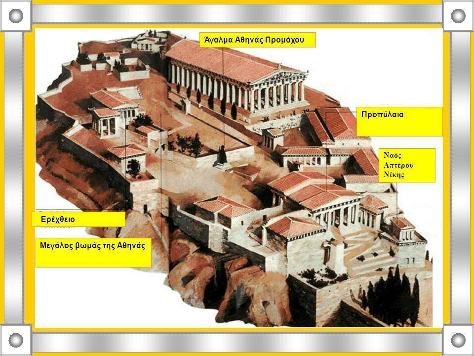 Άγαλμα Αθηνάς Προμάχου Ερέχθειο Μεγάλος βωμός της Αθηνάς Ναός Απτέρου Νίκης Προπύλαια