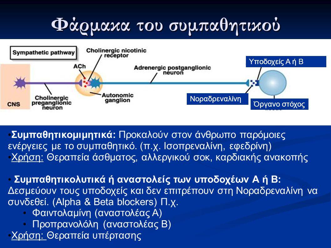 Φάρμακα του συμπαθητικού Υποδοχείς Α ή Β Όργανο στόχος Νοραδρεναλίνη Συμπαθητικομιμητικά: Προκαλούν στον άνθρωπο παρόμοιες ενέργειες με το συμπαθητικό