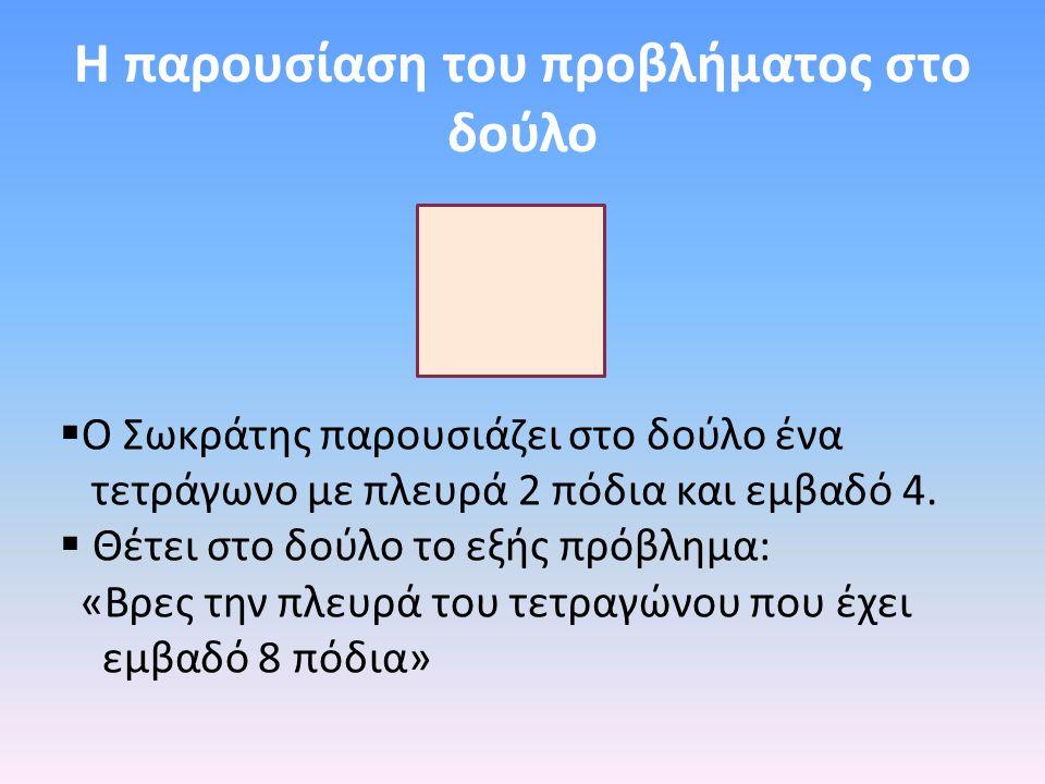 Η παρουσίαση του προβλήματος στο δούλο  Ο Σωκράτης παρουσιάζει στο δούλο ένα τετράγωνο με πλευρά 2 πόδια και εμβαδό 4.  Θέτει στο δούλο το εξής πρόβ