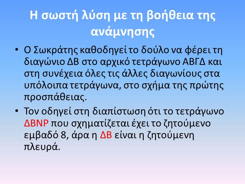 Η σωστή λύση με τη βοήθεια της ανάμνησης Ο Σωκράτης καθοδηγεί το δούλο να φέρει τη διαγώνιο ΔΒ στο αρχικό τετράγωνο ΑΒΓΔ και στη συνέχεια όλες τις άλλες διαγωνίους στα υπόλοιπα τετράγωνα, στο σχήμα της πρώτης προσπάθειας.