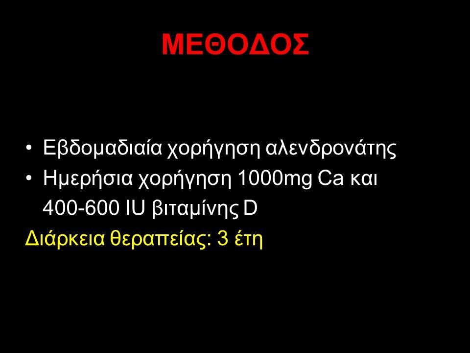 ΜΕΘΟΔΟΣ Εβδομαδιαία χορήγηση αλενδρονάτης Ημερήσια χορήγηση 1000mg Ca και 400-600 IU βιταμίνης D Διάρκεια θεραπείας: 3 έτη