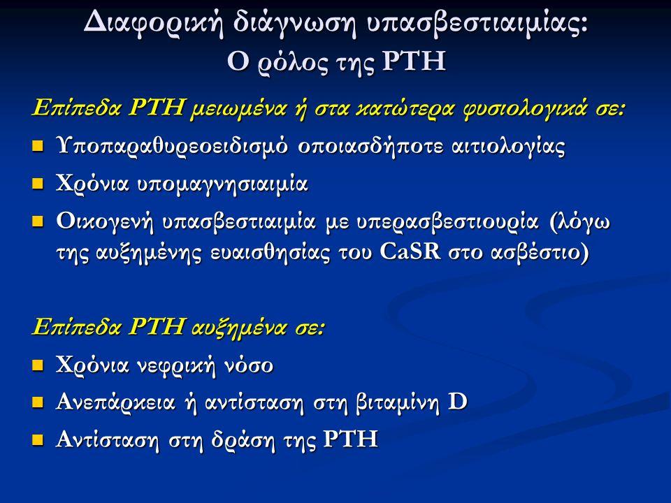 Eπίπεδα PTH μειωμένα ή στα κατώτερα φυσιολογικά σε: Υποπαραθυρεοειδισμό οποιασδήποτε αιτιολογίας Υποπαραθυρεοειδισμό οποιασδήποτε αιτιολογίας Χρόνια υ