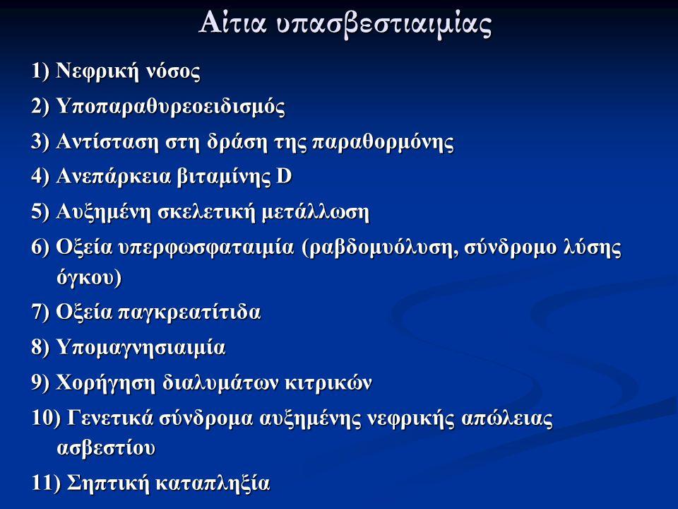 Αίτια υπασβεστιαιμίας 1) Νεφρική νόσος 2) Υποπαραθυρεοειδισμός 3) Αντίσταση στη δράση της παραθορμόνης 4) Ανεπάρκεια βιταμίνης D 5) Αυξημένη σκελετική
