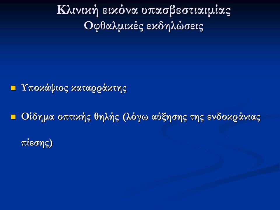 Κλινική εικόνα υπασβεστιαιμίας Οφθαλμικές εκδηλώσεις Υποκάψιος καταρράκτης Υποκάψιος καταρράκτης Οίδημα οπτικής θηλής (λόγω αύξησης της ενδοκράνιας πί