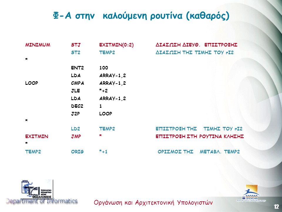 12 Οργάνωση και Αρχιτεκτονική Υπολογιστών Φ-Α στην καλούμενη ρουτίνα (καθαρός) MINIMUM STJ EXITMIN(0:2)ΔΙΑΣΩΣΗ ΔΙΕΥΘ. ΕΠΙΣΤΡΟΦΗΣ ST2 TEMP2 ΔΙΑΣΩΣΗ ΤΗΣ