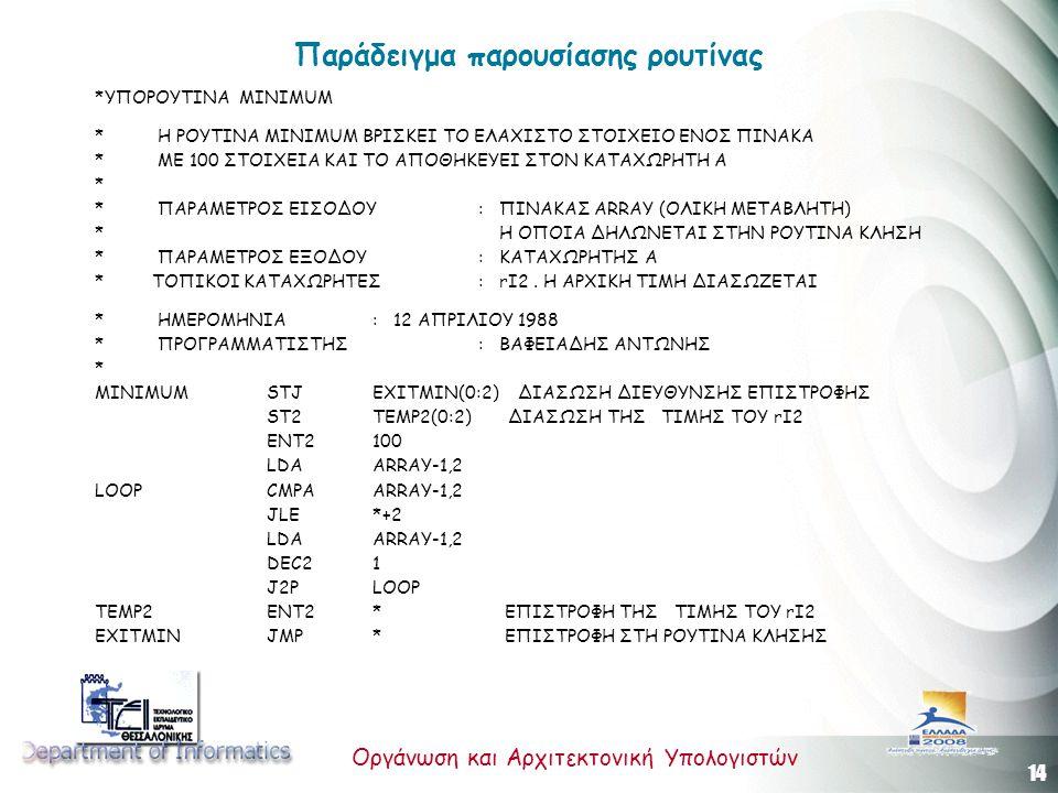14 Οργάνωση και Αρχιτεκτονική Υπολογιστών Παράδειγμα παρουσίασης ρουτίνας *ΥΠΟΡΟΥΤΙNΑ ΜΙΝΙΜUM * Η ΡΟΥΤΙΝΑ ΜΙΝΙΜUM ΒΡΙΣΚΕΙ ΤΟ ΕΛΑΧΙΣΤΟ ΣΤΟΙΧΕΙΟ ΕΝΟΣ ΠΙΝΑΚΑ * ΜΕ 100 ΣΤΟΙΧΕΙΑ ΚΑΙ ΤΟ ΑΠΟΘΗΚΕΥΕΙ ΣΤΟΝ ΚΑΤΑΧΩΡΗΤΗ Α * * ΠΑΡΑΜΕΤΡΟΣ ΕΙΣΟΔΟΥ : ΠΙΝΑΚΑΣ ARRAY (ΟΛΙΚΗ ΜΕΤΑΒΛΗΤΗ) * Η ΟΠΟΙΑ ΔΗΛΩΝΕΤΑΙ ΣΤΗΝ ΡΟΥΤΙΝΑ ΚΛΗΣΗ * ΠΑΡΑΜΕΤΡΟΣ ΕΞΟΔΟΥ : ΚΑΤΑΧΩΡΗΤΗΣ Α * ΤΟΠΙΚΟΙ ΚΑΤΑΧΩΡΗΤΕΣ: rΙ2.