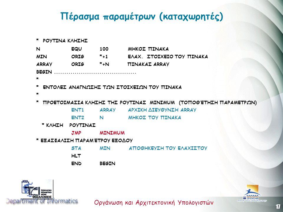17 Οργάνωση και Αρχιτεκτονική Υπολογιστών Πέρασμα παραμέτρων (καταχωρητές) *ΡΟΥΤΙΝΑ ΚΛΗΣΗΣ Ν EQU 100 ΜΗΚΟΣ ΠΙΝΑΚΑ MIN ORIG *+1 ΕΛΑΧ. ΣΤΟΙΧΕΙΟ ΤΟΥ ΠΙΝΑ