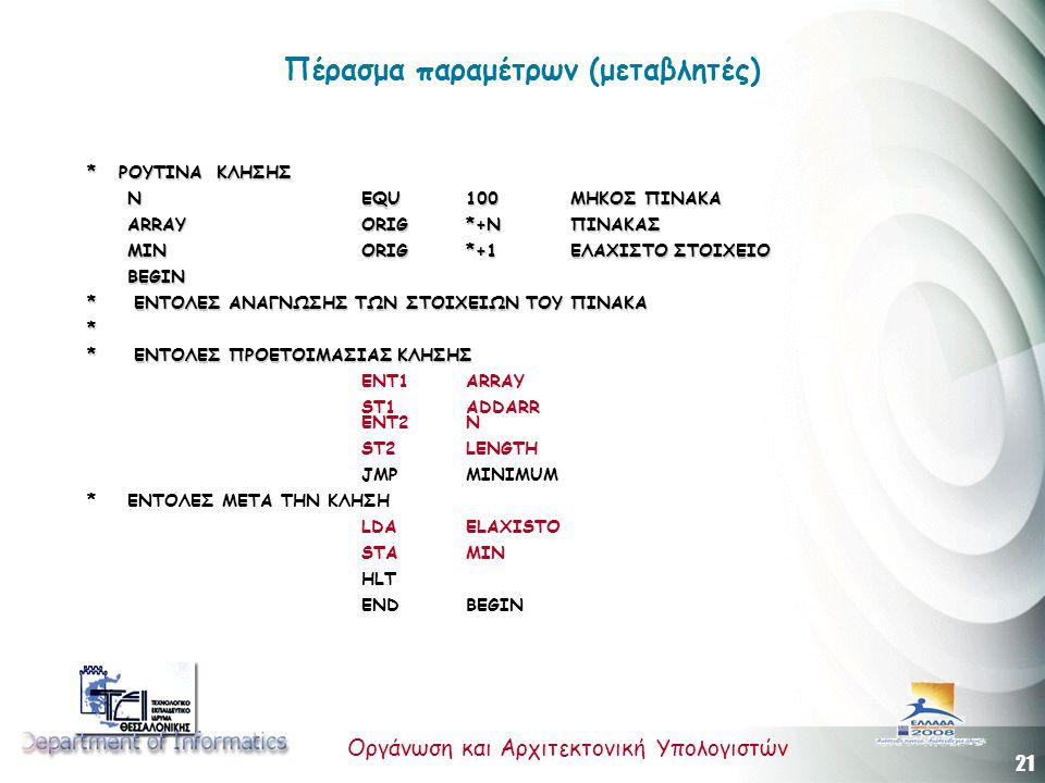21 Οργάνωση και Αρχιτεκτονική Υπολογιστών Πέρασμα παραμέτρων (μεταβλητές) * ΡΟΥΤΙΝΑ ΚΛΗΣΗΣ Ν EQU 100ΜΗΚΟΣ ΠΙΝΑΚΑ ARRAY ORIG *+NΠΙΝΑΚΑΣ MIN ORIG *+1ΕΛΑ