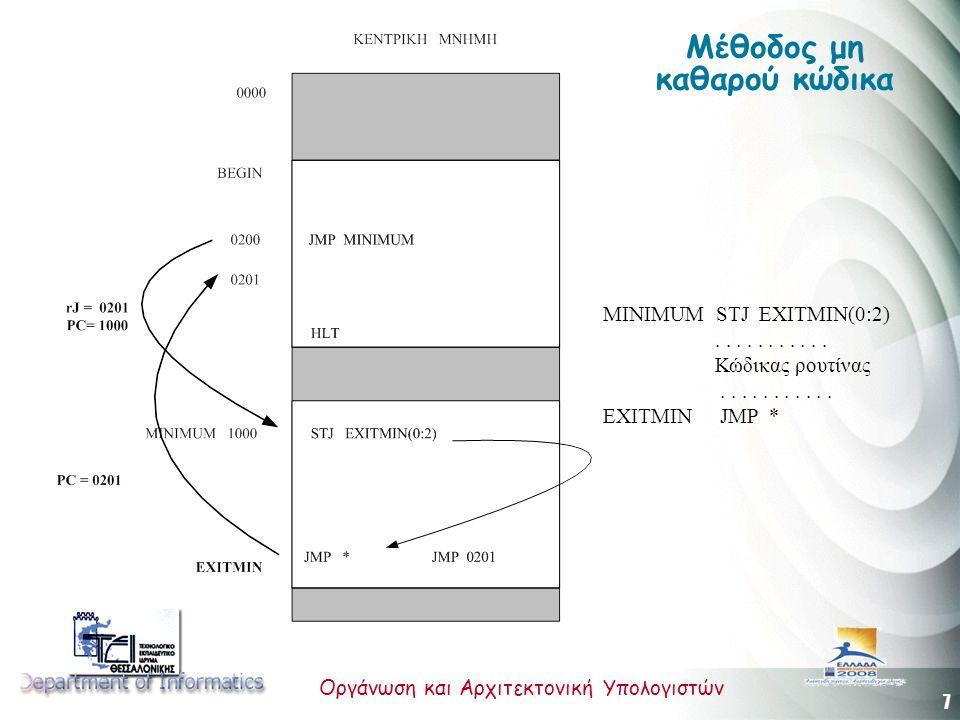 7 Οργάνωση και Αρχιτεκτονική Υπολογιστών Μέθοδος μη καθαρού κώδικα MINIMUM STJ EXITMIN(0:2)........... Κώδικας ρουτίνας........... EXITMIN JMP *