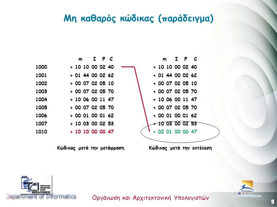 9 Οργάνωση και Αρχιτεκτονική Υπολογιστών Μη καθαρός κώδικας (παράδειγμα) m I F C m I F C m I F C m I F C 1000 + 10 10 00 02 40 + 10 10 00 02 40 1001 +