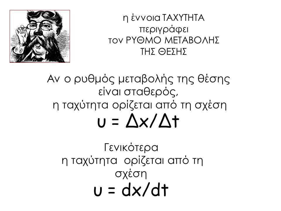 Αν ο ρυθμός μεταβολής της θέσης είναι σταθερός, η ταχύτητα ορίζεται από τη σχέση υ = Δx/Δt Γενικότερα η ταχύτητα ορίζεται από τη σχέση υ = dx/dt η ένν