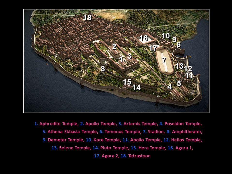 1.Aphrodite Temple, 2. Apollo Temple, 3. Artemis Temple, 4.