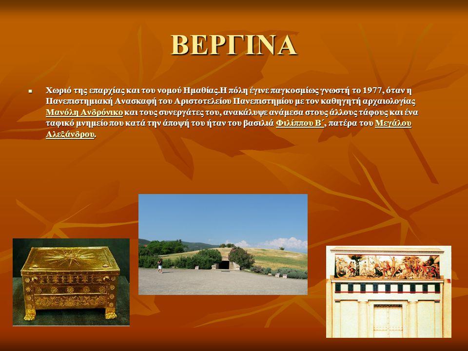 ΒΕΡΓΙΝΑ Χωριό της επαρχίας και του νομού Ημαθίας.Η πόλη έγινε παγκοσμίως γνωστή το 1977, όταν η Πανεπιστημιακή Ανασκαφή του Αριστοτελείου Πανεπιστημίο