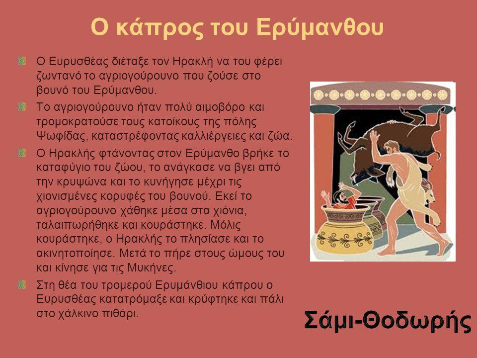 Ο κάπρος του Ερύμανθου Ο Ευρυσθέας διέταξε τον Ηρακλή να του φέρει ζωντανό το αγριογούρουνο που ζούσε στο βουνό του Ερύμανθου. Το αγριογούρουνο ήταν π