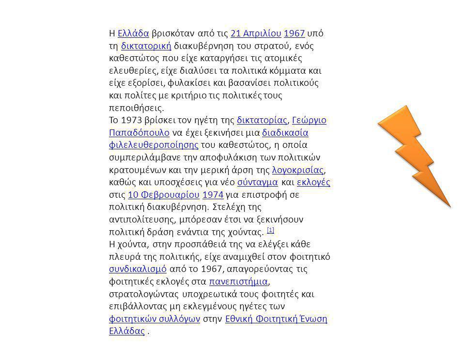 Η Ελλάδα βρισκόταν από τις 21 Απριλίου 1967 υπό τη δικτατορική διακυβέρνηση του στρατού, ενός καθεστώτος που είχε καταργήσει τις ατομικές ελευθερίες,