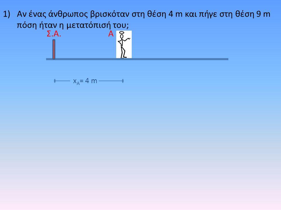 1)Αν ένας άνθρωπος βρισκόταν στη θέση 4 m και πήγε στη θέση 9 m πόση ήταν η μετατόπισή του; ΑΣ.Α. x Α = 4 m