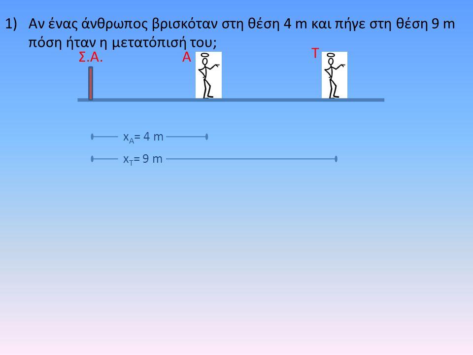 1)Αν ένας άνθρωπος βρισκόταν στη θέση 4 m και πήγε στη θέση 9 m πόση ήταν η μετατόπισή του; Α Τ Σ.Α. x Τ = 9 m x Α = 4 m