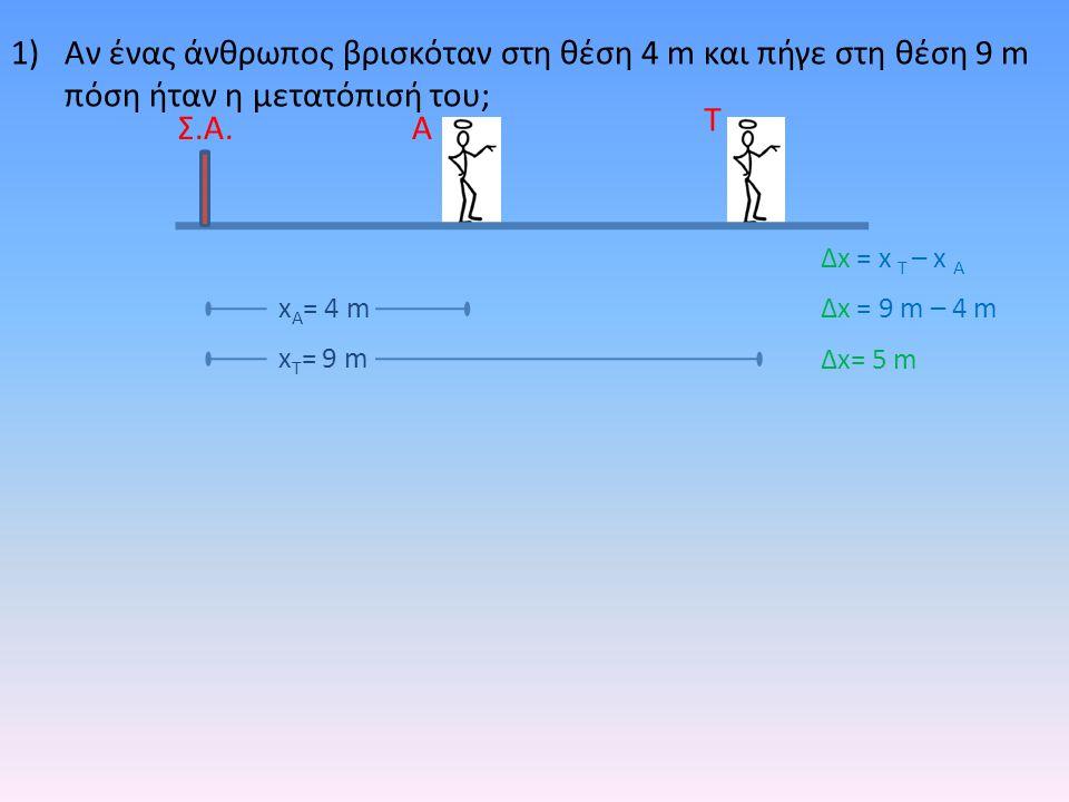 1)Αν ένας άνθρωπος βρισκόταν στη θέση 4 m και πήγε στη θέση 9 m πόση ήταν η μετατόπισή του; Α Τ Σ.Α. x Τ = 9 m x Α = 4 m Δx = x T – x A Δx = 9 m – 4 m