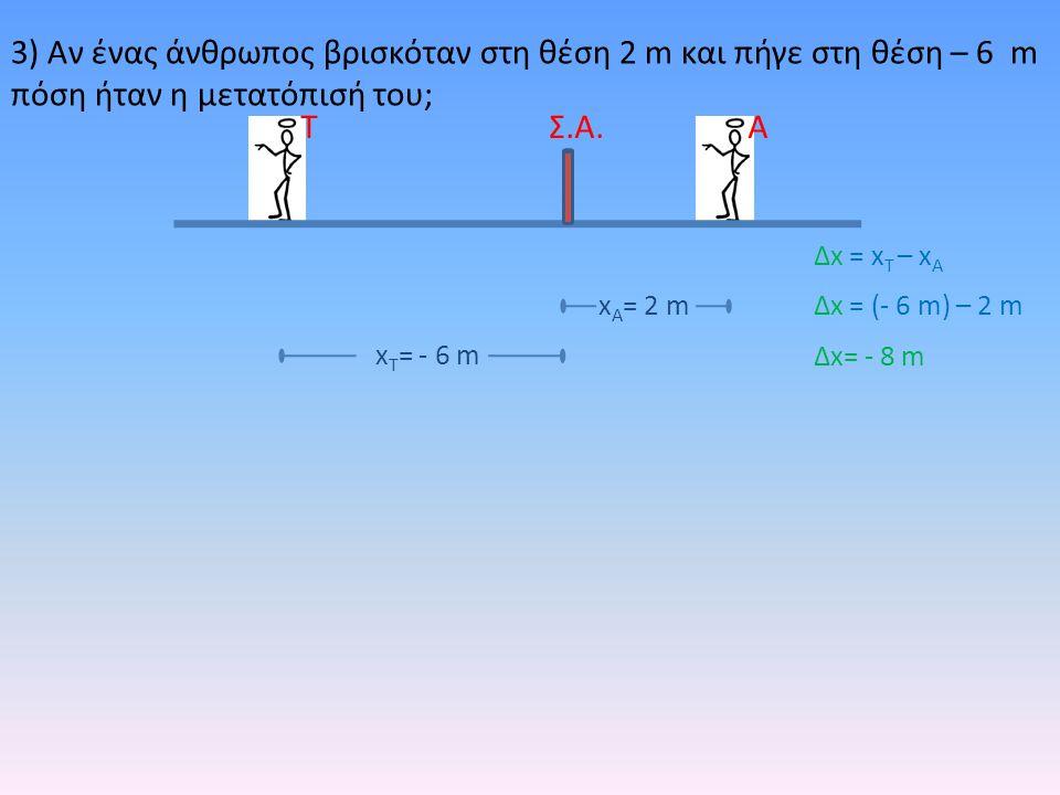 3) Αν ένας άνθρωπος βρισκόταν στη θέση 2 m και πήγε στη θέση – 6 m πόση ήταν η μετατόπισή του; ΑΤΣ.Α. x Τ = - 6 m x Α = 2 m Δx = x T – x A Δx = (- 6 m